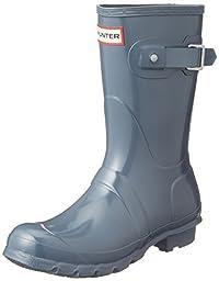 Hunter Womens Original Short Gloss Graphite Rain Boot - 8