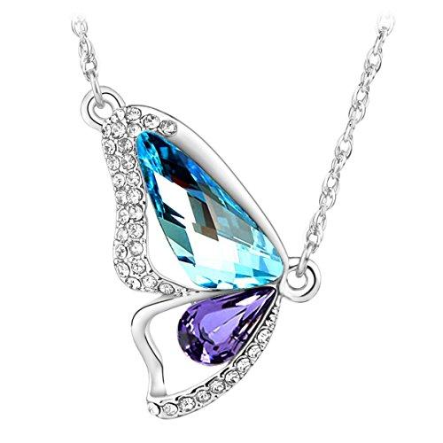 Le Premium® - Collana placcata in oro bianco 18 k con pendente a forma di farfalla con cristalli Swarovski, acquamarina e tanzanite, in confezione regalo