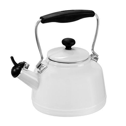 Chantal 37-VINT WT Enamel on Steel Vintage Teakettle, 1.7 quart, White (Black And White Kettle compare prices)