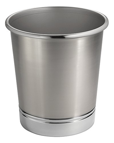 MetroDecor mdesign Steel Wastebasket Trash Can for Bathroom/Office/Kitchen, Brushed Nickel/Chrome (Nickel Trash Can compare prices)