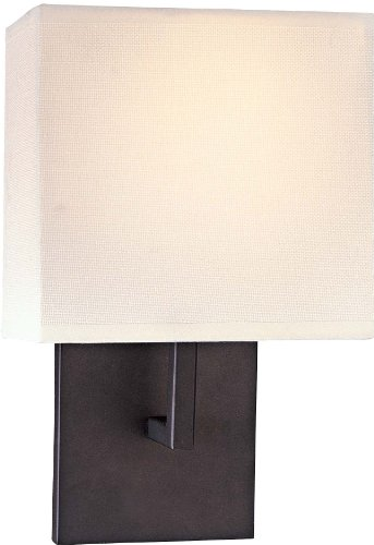 George Kovacs Gkp470-617 1 Light Wall Sconce W/Off White Linen Shade, Bronze