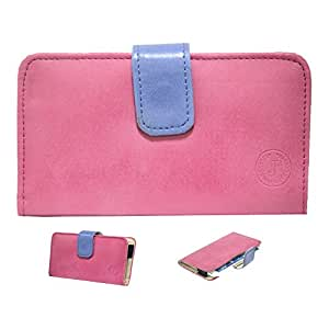 Jo Jo A8 Nillofer Leather Carry Case Cover Pouch Wallet Case For Lava Iris 500 Pink Dark Blue