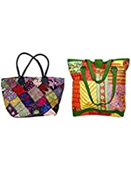Indistar Combo Offer Women's Multicolor Cotton Handbag (Combo Pack Of 2) - B01IVWD5OQ