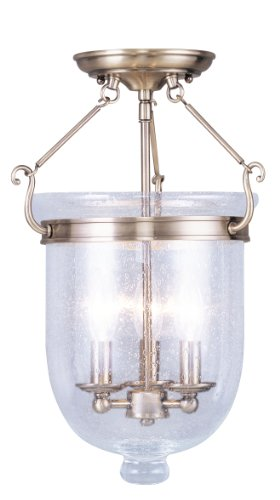B0040C46WC Livex Lighting 5082-01 Flush Mount with Seeded Glass Shades, Antique Brass