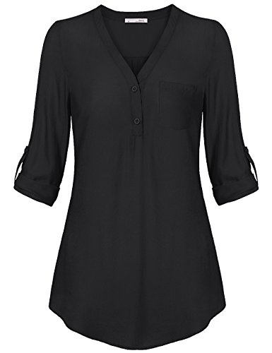 Messic Womens Sexy V-Neck Blouses 2/3 Roll-Up Cuffed Sleeve Button Down Casual Knitted Shirt,Black XX-Large (Big Sleeve Shirts For Women compare prices)