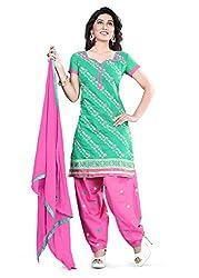 Kimisha Sea Green Chanderi Embroidered Unstitched Dress Material
