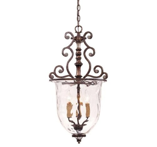 B00112TX40 Savoy House Lighting 7-3006-3-8 St. Laurence Collection 3-Light Foyer Pendant, 25-Inch, New Tortoise Shell with Sliver Finish with Clear Watered Glass