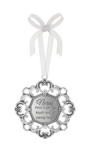 3'' Silver Tone Heart/Snowflake Ornament with Crystal Accents (