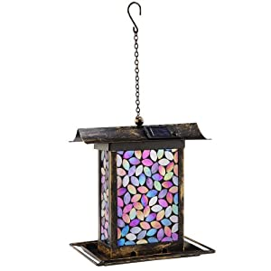 SPI Home 45025 Mosaic Glass Square Bird Feeder, Pink