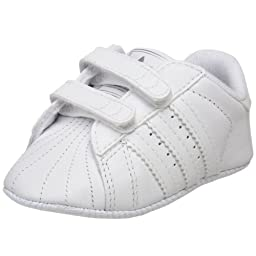 adidas Originals Superstar 2 Crib Comfort Sneaker (Infant),White/White/Silver,1 M US Infant