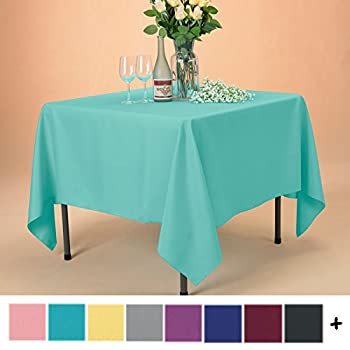 Remedios Tablecloth 70-inch Square Polyester Table Cover - Wedding Restaurant Party Banquet Decoration, Turquoise