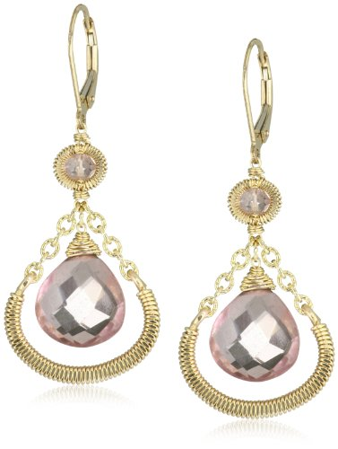 Dana Kellin Everyday Classic Pink Quartz Wrapped Chain Drop Earrings
