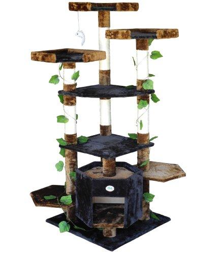 Go Pet Club Cat Condo Climber Furniture, 67-Inch, Brown/Black