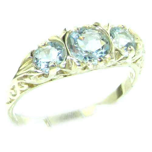 Luxury Ladies Solid Sterling Silver Natural Aquamarine Victorian Trilogy Ring - Size 12 - Finger Sizes 5 to 12 Available - Suitable as an Anniversary ring, Engagement ring, Eternity ring, or Promise ring