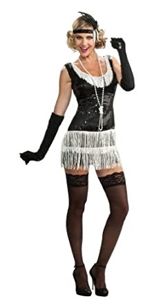 Rubie's Costume Deluxe Adult Black Sequin Flapper Dress, Black, Small