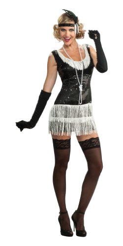Rubie's Costume Deluxe Adult Black Sequin Flapper Dress