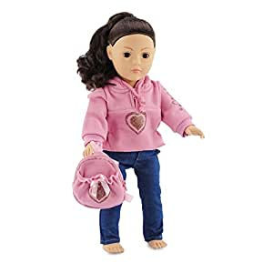 """Emily Rose Doll Clothes 18 Inch Doll Clothes Heart Hoody Set Fits American Girl Dolls Includes 18"""" Accessories"""