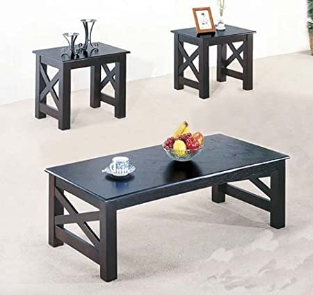 3 Pc. Wood X Style Casual Coffee Table and 2 End Table