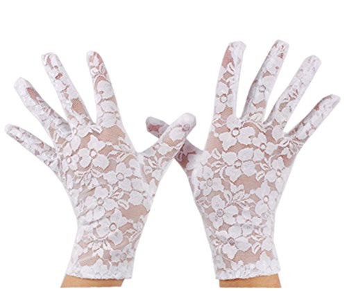 VIVIANSBRIDAL Women's 2016 Short Elegant Lace Wedding Gloves, White