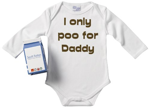 Spoilt Rotten - I Only Poo For Daddy Long Sleeve Babygrows / Bodysuit Alternative Baby Clothes 100% Organic Sizes 0-6 months + in funky Milk Carton WHITE