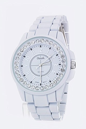 Chic Chelsea Crystal Bezel Watch - L (White)