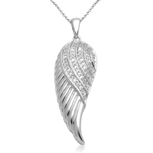 Sterling Silver Diamond Angel Wings Pendant Necklace (1/10 Cttw, I-J Color, I2-I3 Clarity). 18