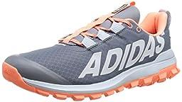 adidas Performance Women\'s Vigor 6 Women\'s Trail Running Shoe,Grey/Sun Glow Yellow/Blue,8.5 M US