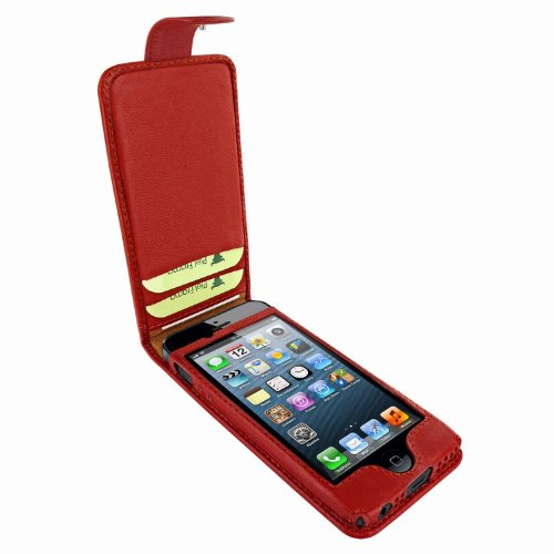 Best Price Apple iPhone 5 / 5S Piel Frama Red Leather Cover with Snap Closure