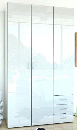 Kleiderschrank-Schrank-Kinderschrank-Schlafzimmer-Hochglanz-Wei-Weiss-3-Trig