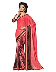 AG Lifestyle Peach Faux Georgette & Jacquard Pallu Saree With Unstitched Blouse ELG8023