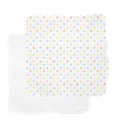 Organic Cotton Gauzie Receiving Blankets, Set Of 2, In White/Print