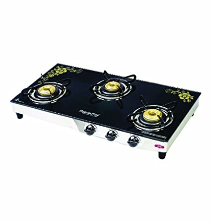 Glass Gas Cooktop With One Fry Pan and Lid (3 Burner)