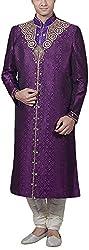 Amafhh Men's Silk Sherwani (amfsh-173-purple, Purple, 38)