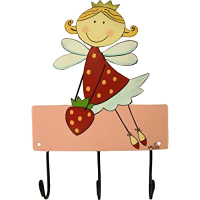 Mila Childrens Coat Hook Strawberry Fairy, 3 Hooks, Hand Painted