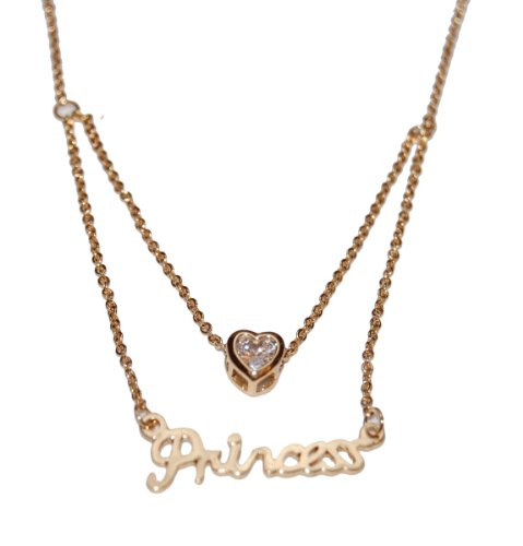 Gold Plated Anti-Tarnish Princess Necklace with a Crystal (Supplied in a Gift Pouch) Unique Jewellery