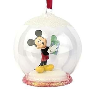"Hallmark 3"" Glass Ball Christmas Tree Ornament with Mickey Mouse Inside"