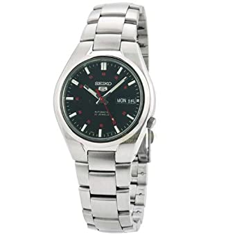 Seiko Men&#8217;s SNK617 Seiko 5 Automatic Black Dial Stainless Steel Watch $67.17