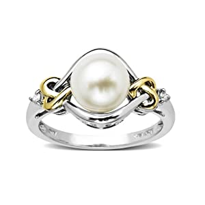 Love Knot Sterling Silver and 14k Yellow Gold 8mm Freshwater Cultured Pearl and Diamond Ring (0.03 cttw, I-J Color, I3 Clarity), Size 7