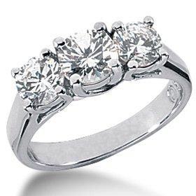 1.75CT Three Stone Diamond Ring 14K White Gold