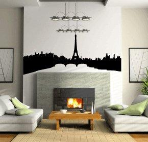 Casa decorazione Parigi cittˆ arte della parete, adesivi in vinile, H = 25cm, W = 50cm
