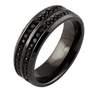 PlusMinus New Stylish Men's Simple Black Diamond Inlay Titanium Steel Hot Ring Size 10