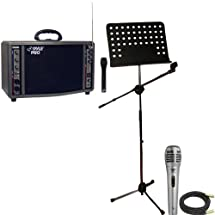 Pyle Speaker, Mic, Cable and Stand Package - PWMA3600 200 Watt Wireless Battery Powered PA System - PDMIK1 Professional Moving Coil Dynamic Handheld Microphone - PMSM9 Heavy Duty Tripod Microphone And Music Note Stand - PPMCL50 50ft. Symmetric Microphone Cable XLR Female to XLR Male