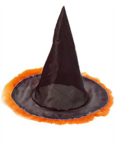 Orange Feather Trim Black Halloween Costume Witch's Hat