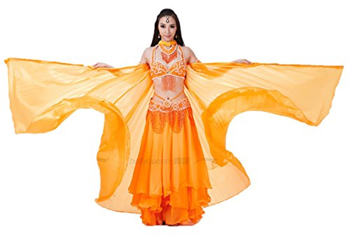 Dreamspell 2014 Simulated Silk belly dance pure orange wings best gift