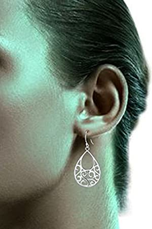 Sterling Silver Filigree Abstract Peacock Design Dangle Drop Earrings For Sensitive Ears By Renaissance Jewelry