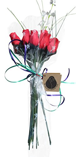 The Original Wooden Rose All Red Roses Floral Flower Bouquets in a Gift Box (1 Dozen) ...