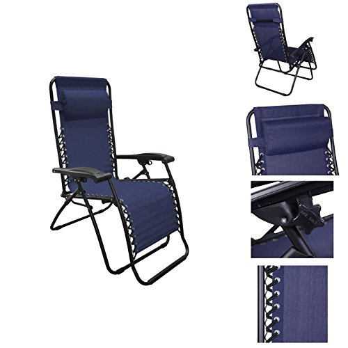 Navy Color Recliner Lounge Chair Fully Reclined-63 Inches Long