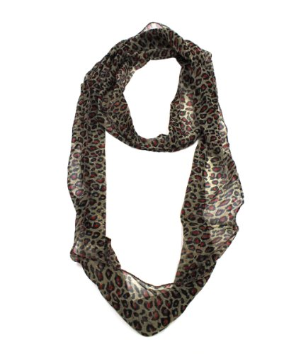 Modadorn Spring To Summer Cheetah Infinity Leopard Thin Scarf (Red)