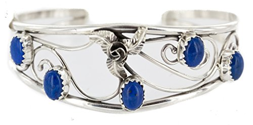 Delicate $250 Retail Tag Handmade Authentic Made by Carolynn Nez Navajo .925 Sterling Silver Natural Lapis Lazuli Native American Bracelet