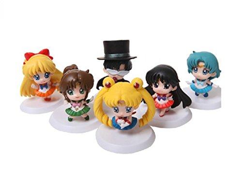 Rosy Women 6Pcs/Set Cartoon Sailor Moon Venus Mars Mercury Jupiter Q Version Pvc Action Figure Model Toys Dolls